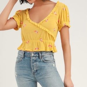 Free People Full Bloom V Neck Crop Top Yellow M